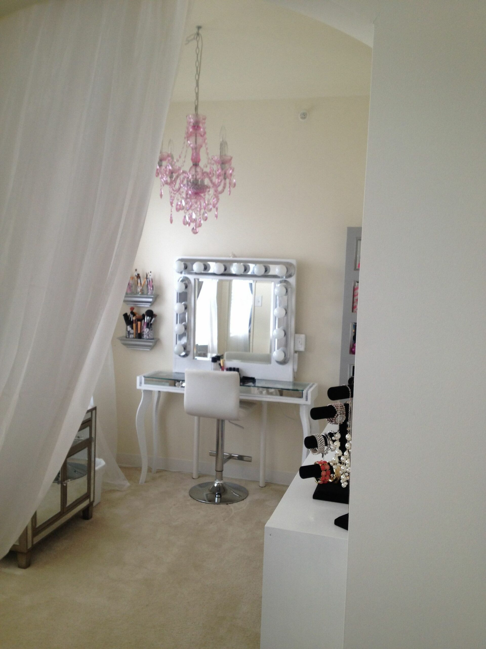 Hollywood chic Apartment living den turned into glam makeup room ...