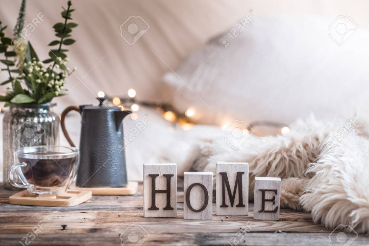 home atmosphere in the interior with wooden letters and home..