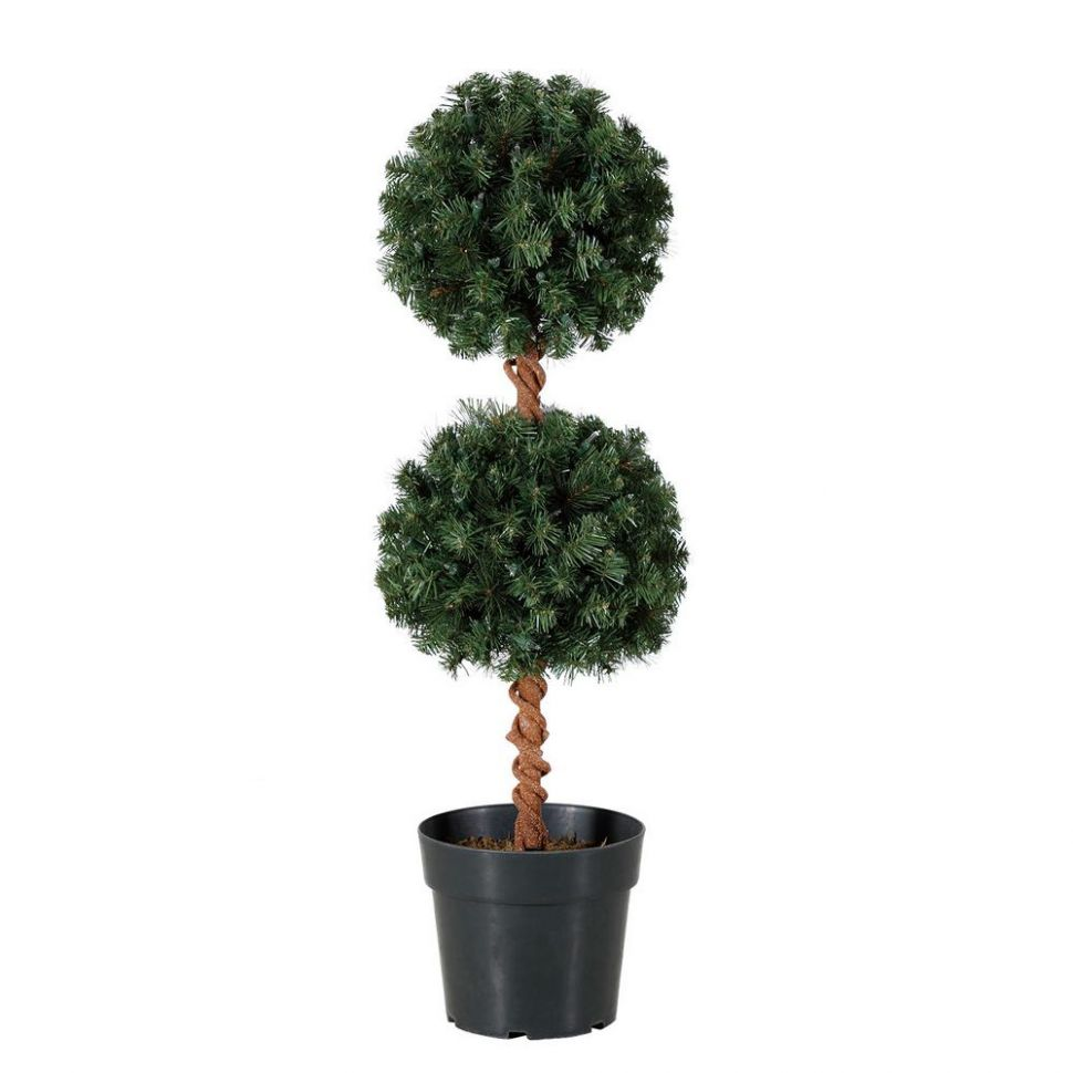 HOME HERITAGE 11 ft. Artificial Topiary Tree with Clear Lights for Entryway  Decor