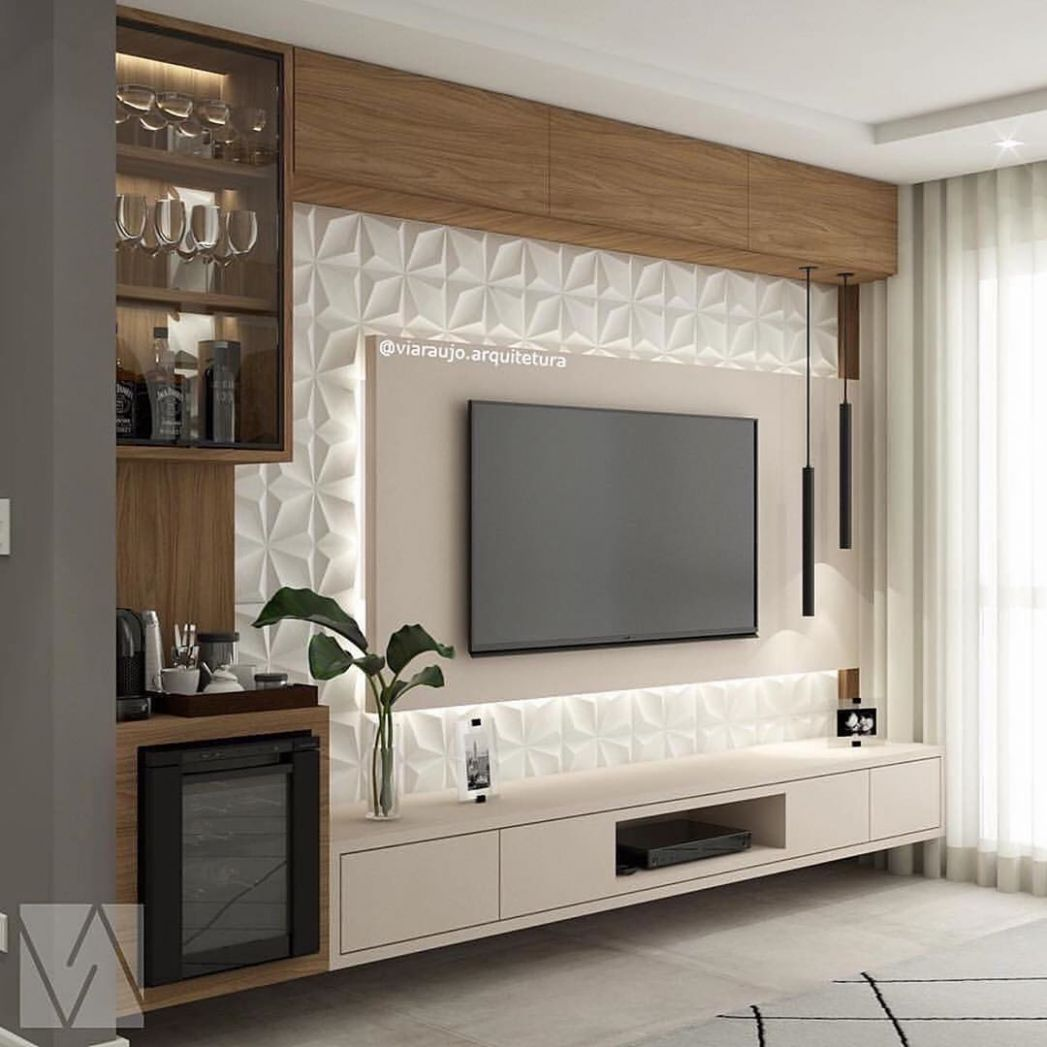 How about a TV Panel with wine cellar and cabinet? We love and ...