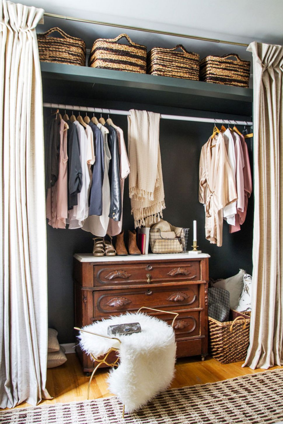 How to cover a closet without doors (Inexpensive options) - closet ideas without doors
