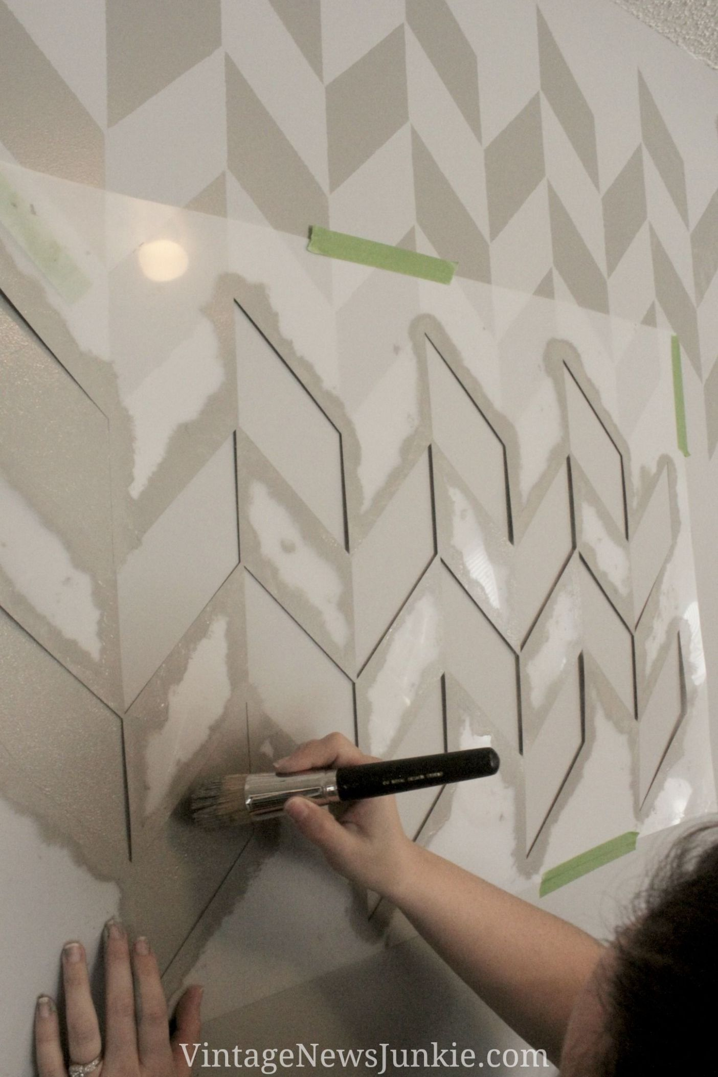 How to Paint a Wall using a Stencil Herringbone Pattern | Wall ..