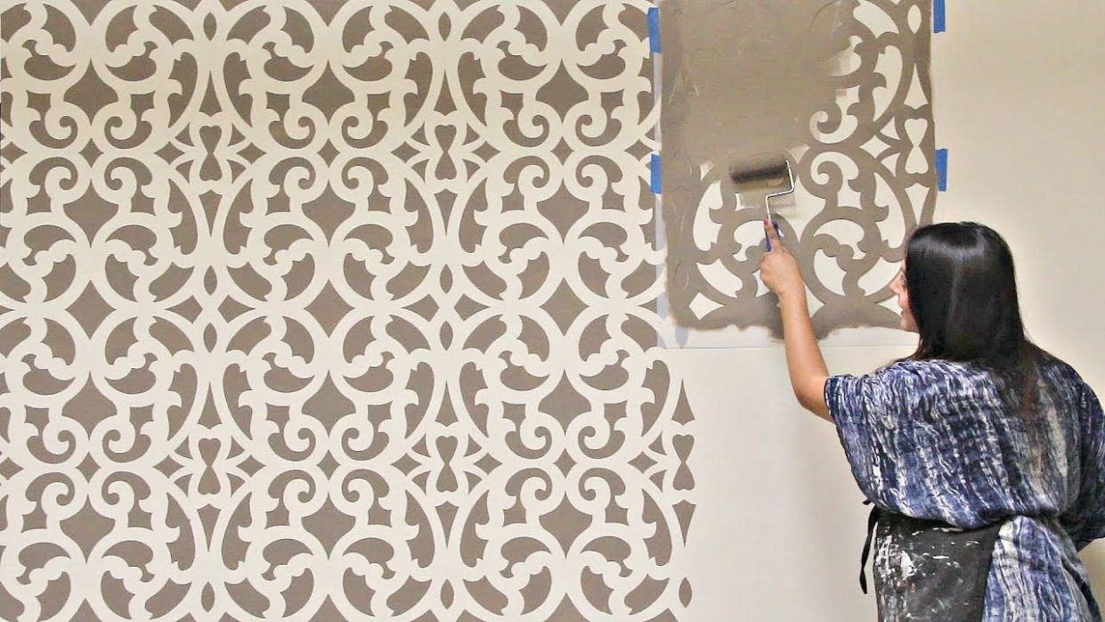 How to Stencil an Accent Wall in Only 10 Hour! Painting a Wallpaper Pattern  with Wall Stencils - wall decor stencil ideas