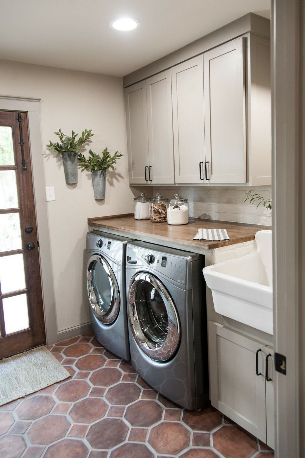 I really, really like the simplicity of this laundry room. Neutral ...