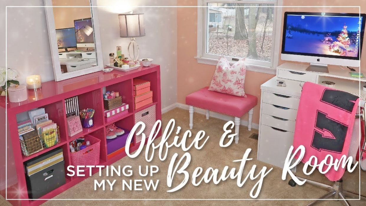 Ikea Beauty Room & Office Set Up | Decorating, organizing, painting |  Office & Makeup Room Makeover - makeup room office