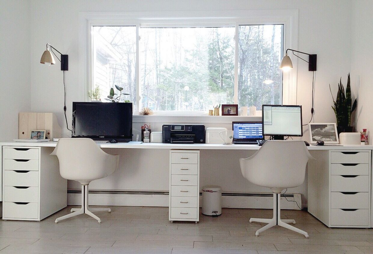 Ikea hacked faux built-ins double desk. Love the sun-filled ..