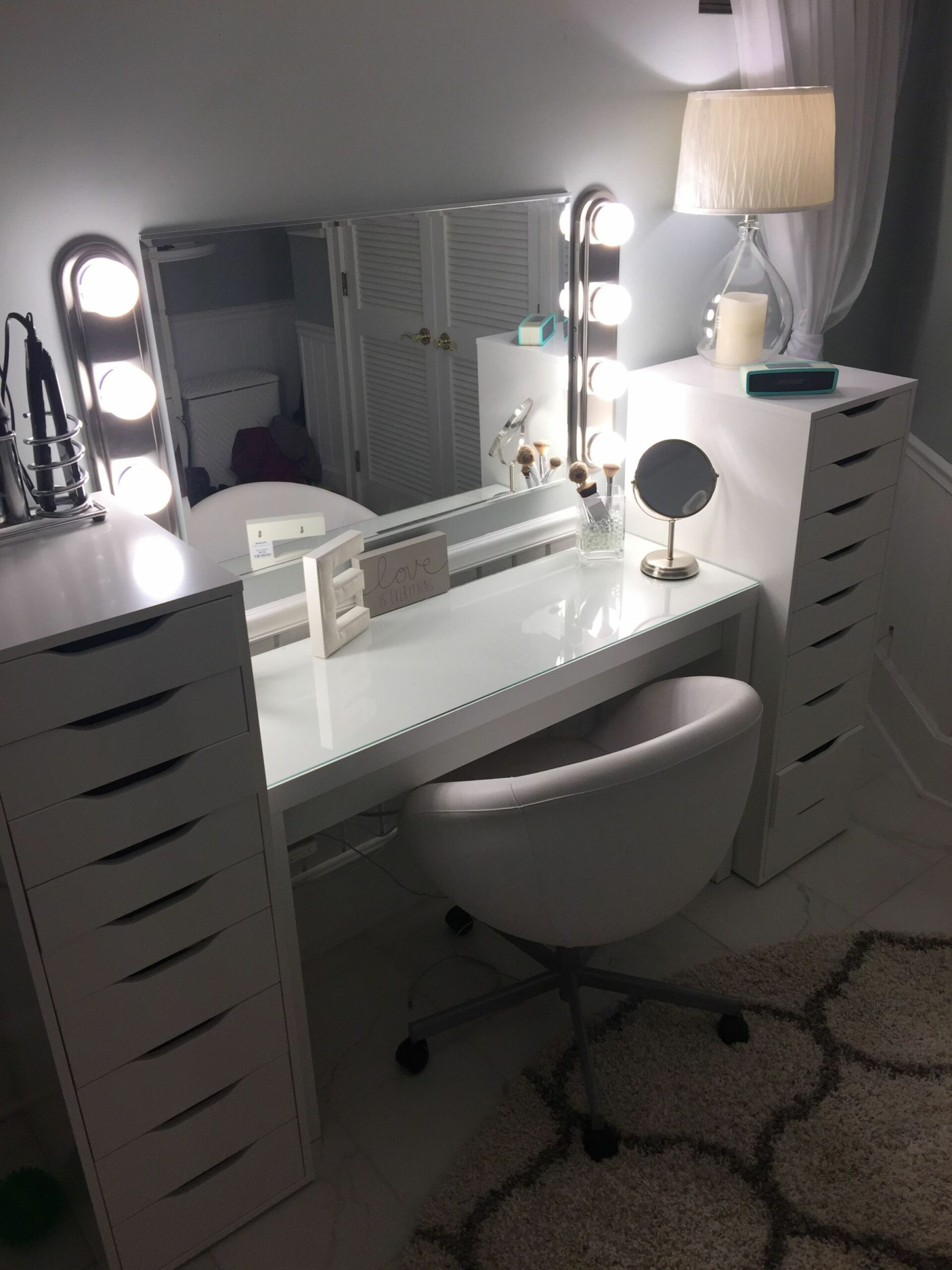 Ikea #makeup #lighted-makeup #DIY #home-depot | Vanity makeup ...