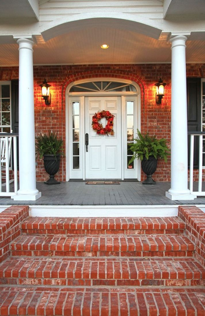 Image result for brick house porch (With images) | Brick steps ...
