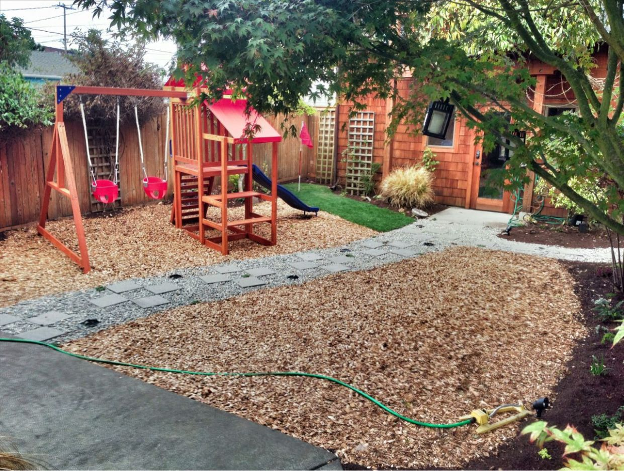 Image result for landscaping with wood chips | Backyard playground ...