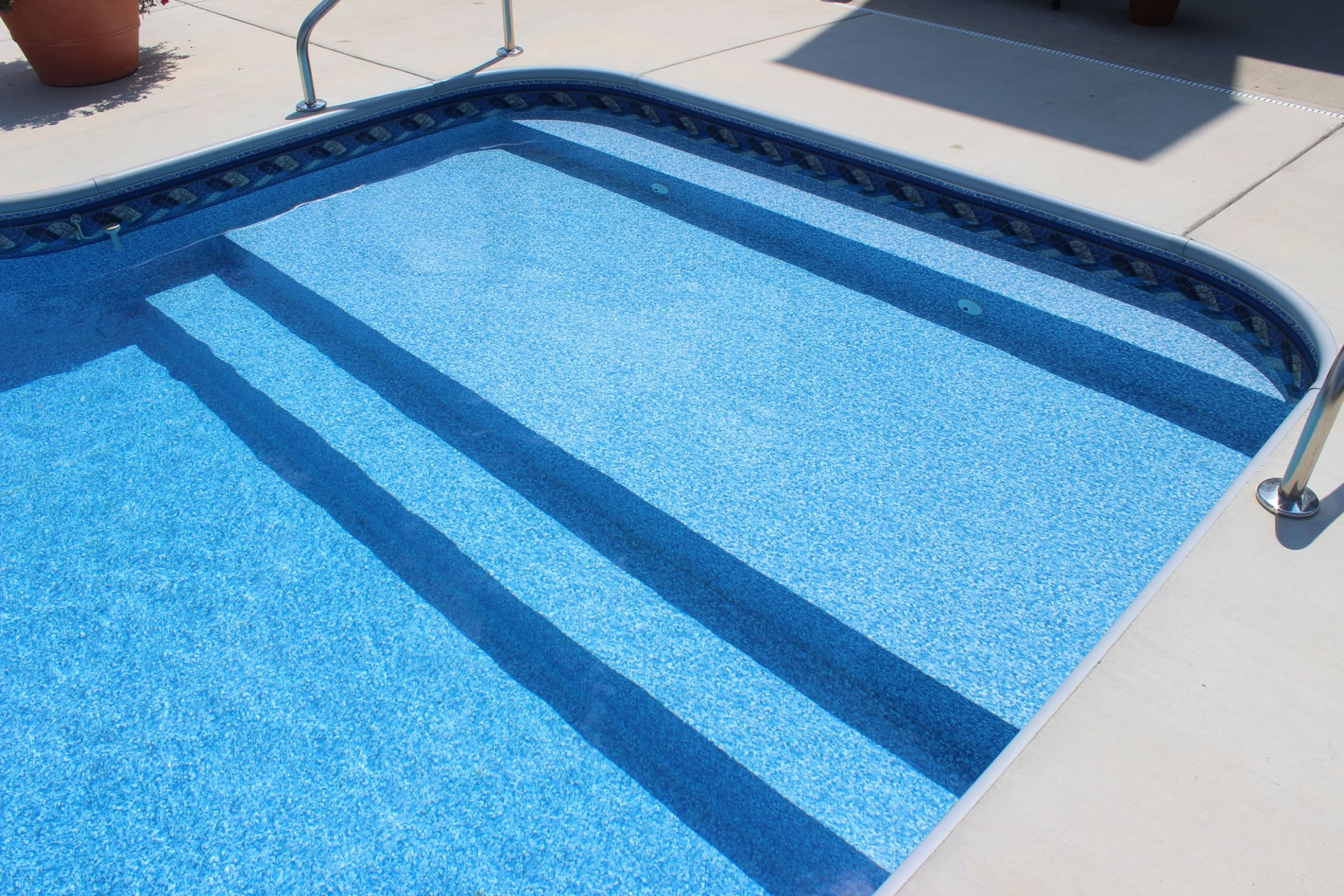 In Ground Vinyl Liner Swimming Pool With Full Width Steps, Custom ...