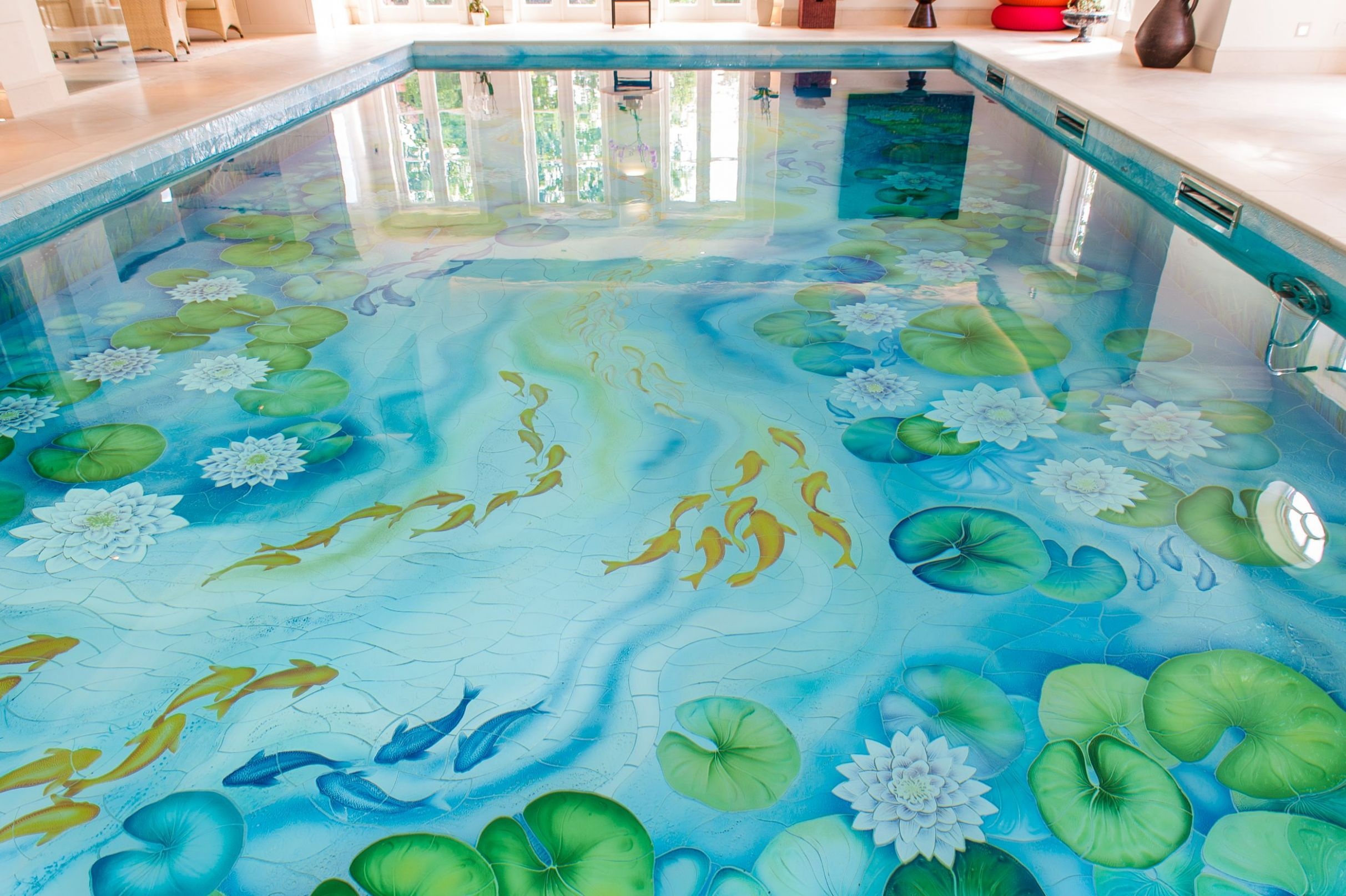 Indoor Swimming Pool With Beautiful Water Lily Ceramic Tile Mural ..