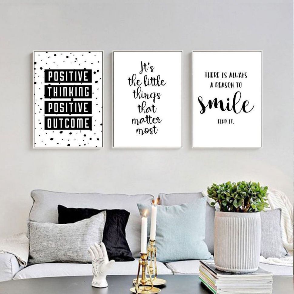 Inspirational Quote Wall Art Canvas Posters Black White Prints ..