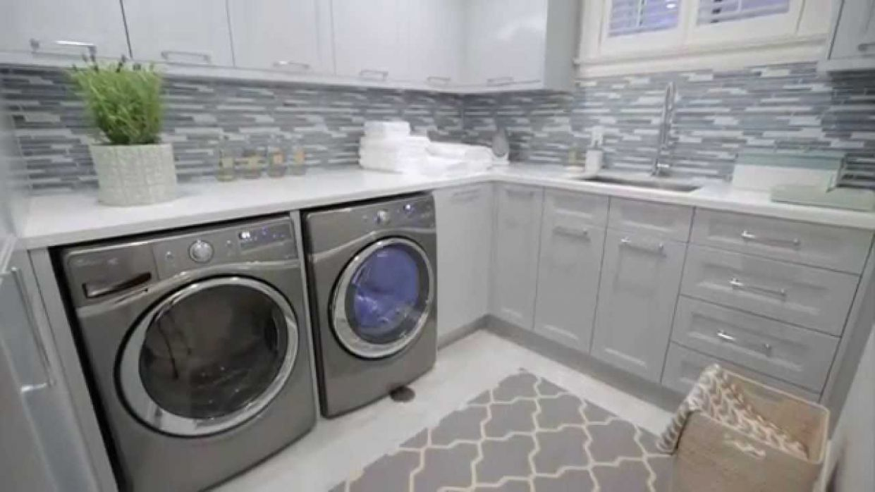 Interior design — Small, Storage-Filled Blue-Grey Laundry Room Renovation - small laundry room ideas youtube