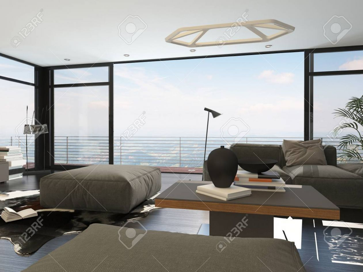 Interior of Modern Living Room with Large Windows in Highrise.