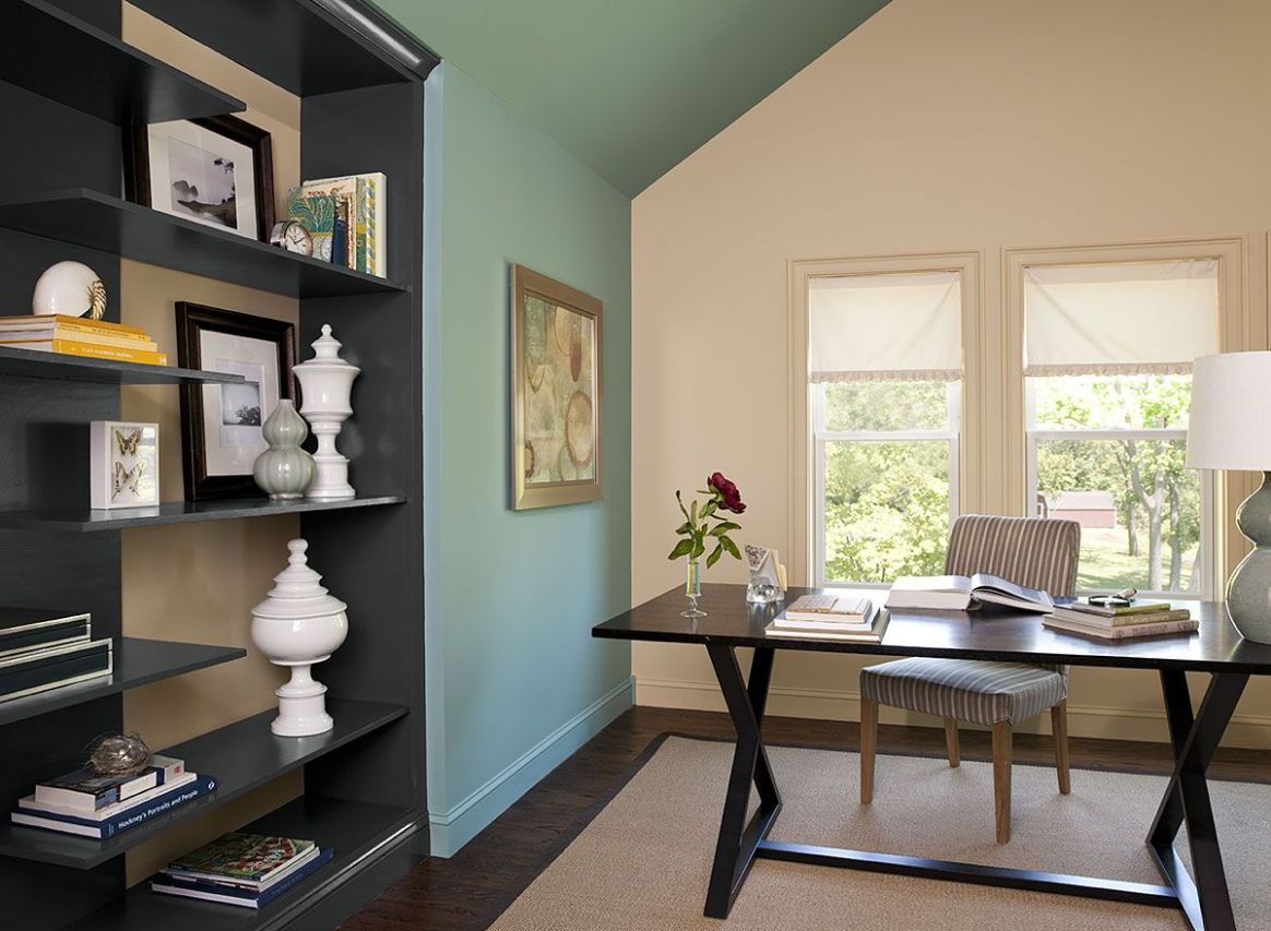 Interior Paint Ideas and Inspiration | Green home offices, Blue ..