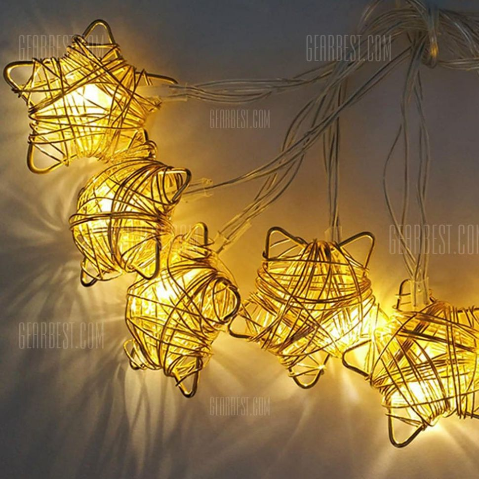 Iron Wire Star String Lights Fairy LED Home Decor Light Home Garden of  Battery Powered 10.10M 100 LED