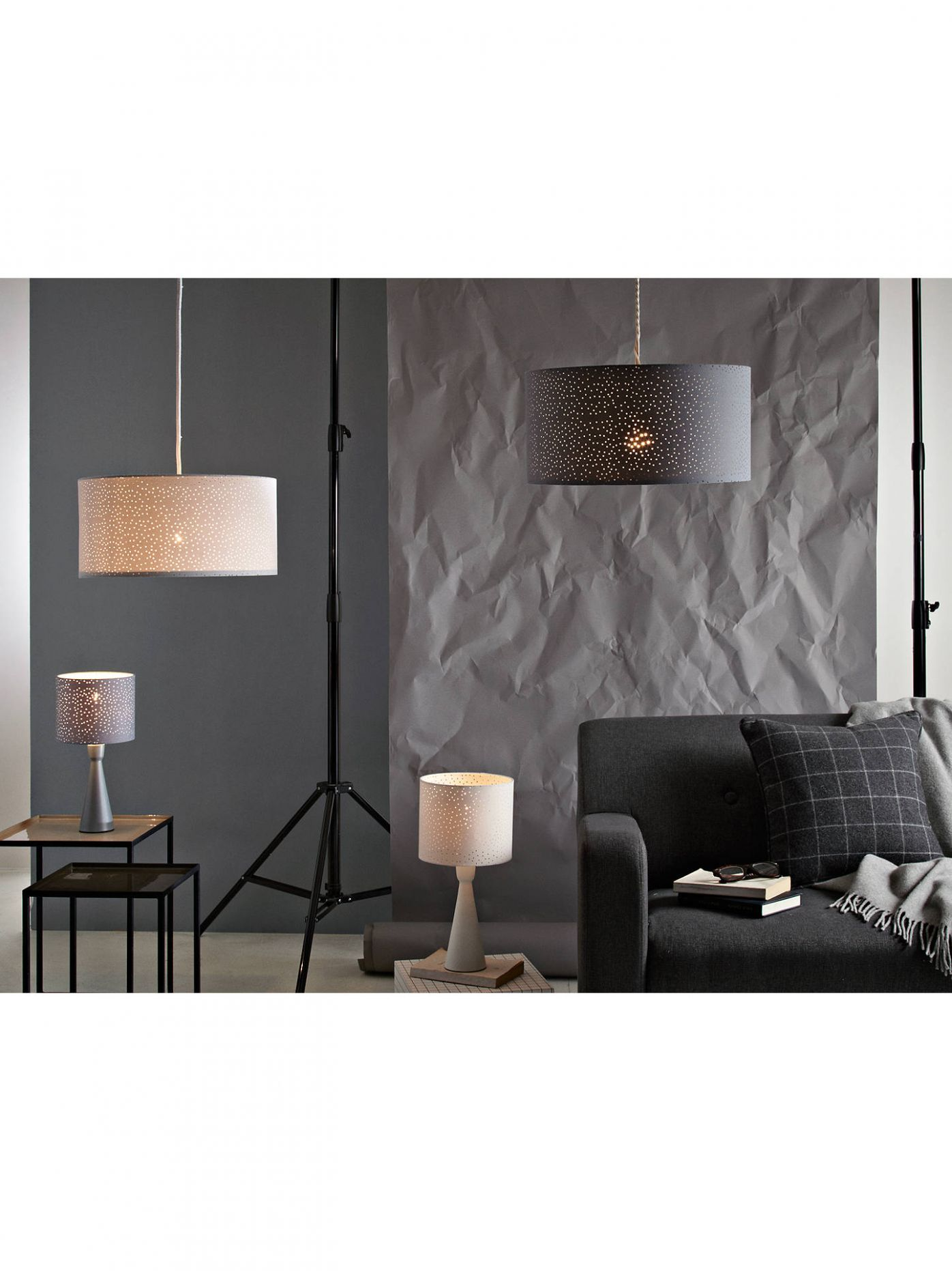 John Lewis & Partners Alice Starry Sky Easy-to-Fit Ceiling Shade, White - bedroom lighting ideas john lewis
