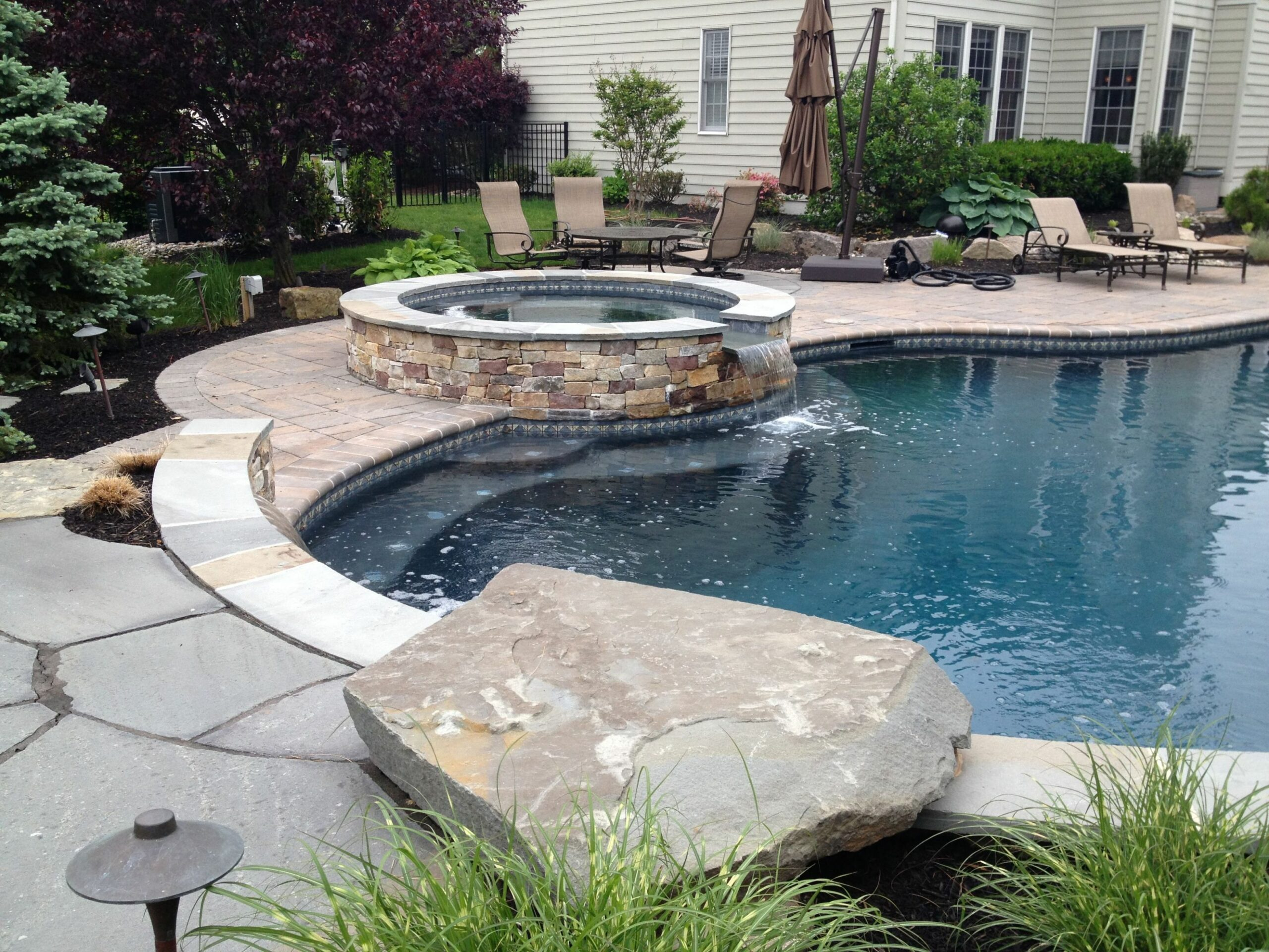 Jump rock on a swimming pool in Newtown, PA | Rock garden design ..