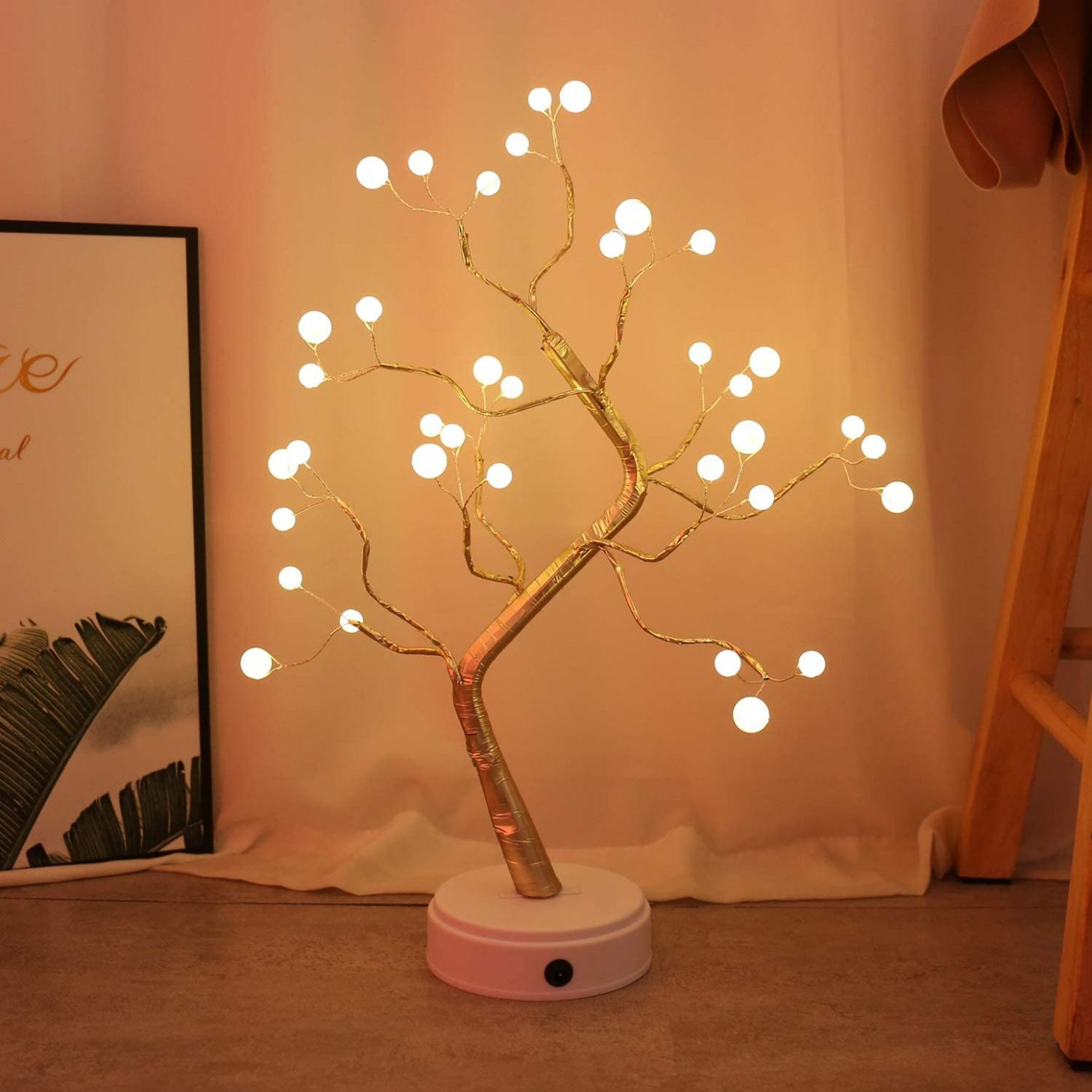 KHTO DIY Led Desk Tree Lamp, Desk Table Decor 9 Pearl LED Lights for  Home,Bedroom, Indoor,Wedding Party,Decoration Touch Switch Battery Powered  or ..
