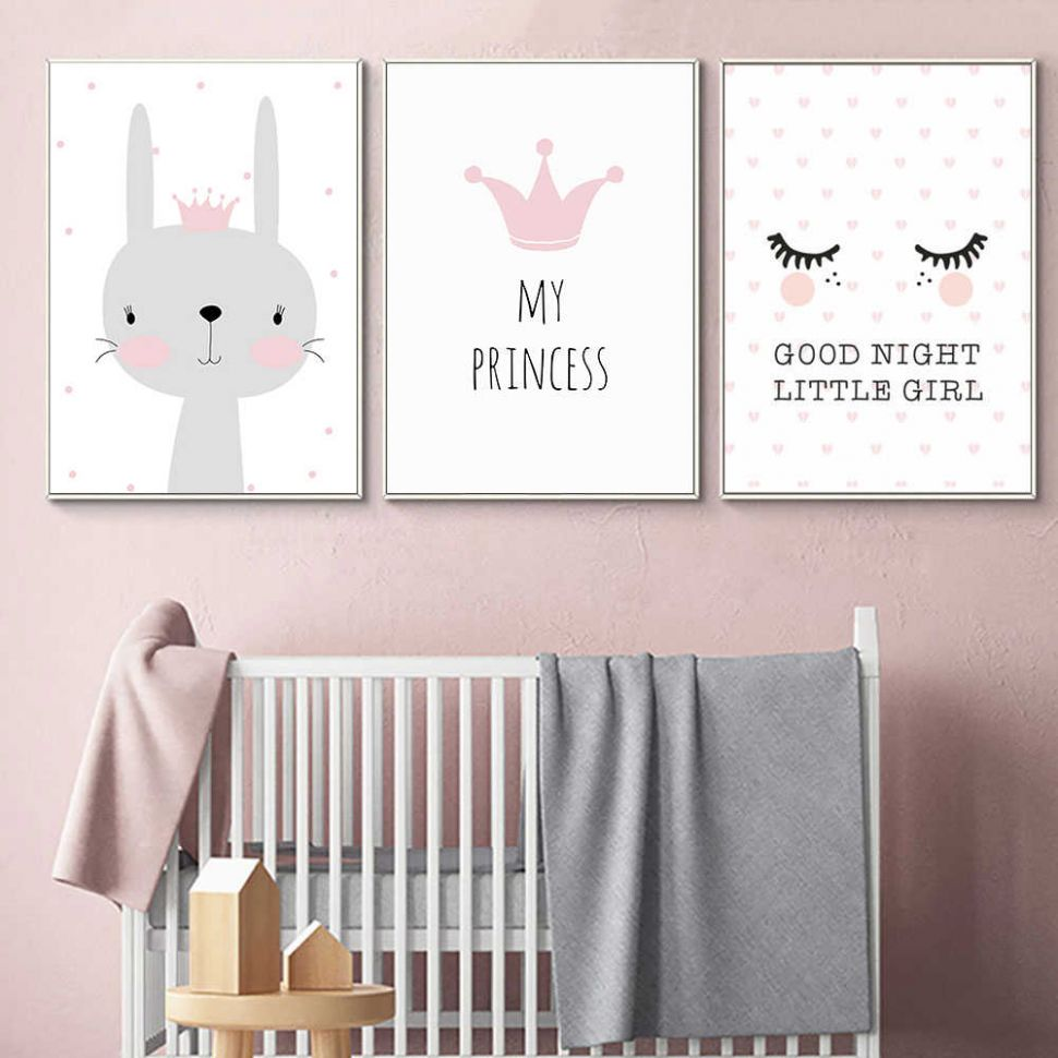 Kids Room : Cartoon Rabbit Paintings Wall Decor Nordic Poster Kids ..
