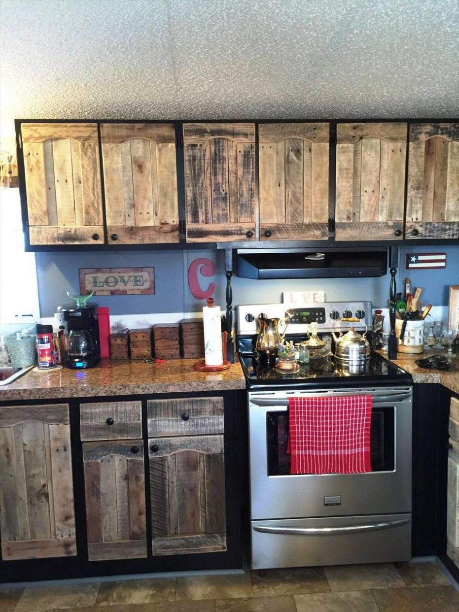 Kitchen Cabinets Using Old Pallets | Pallet kitchen cabinets ..