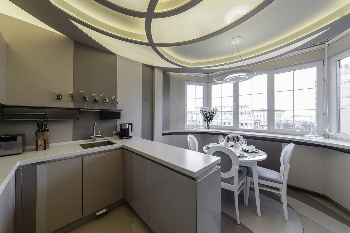 Kitchen Combined with Loggia or Balcony Design Ideas - balcony kitchen ideas