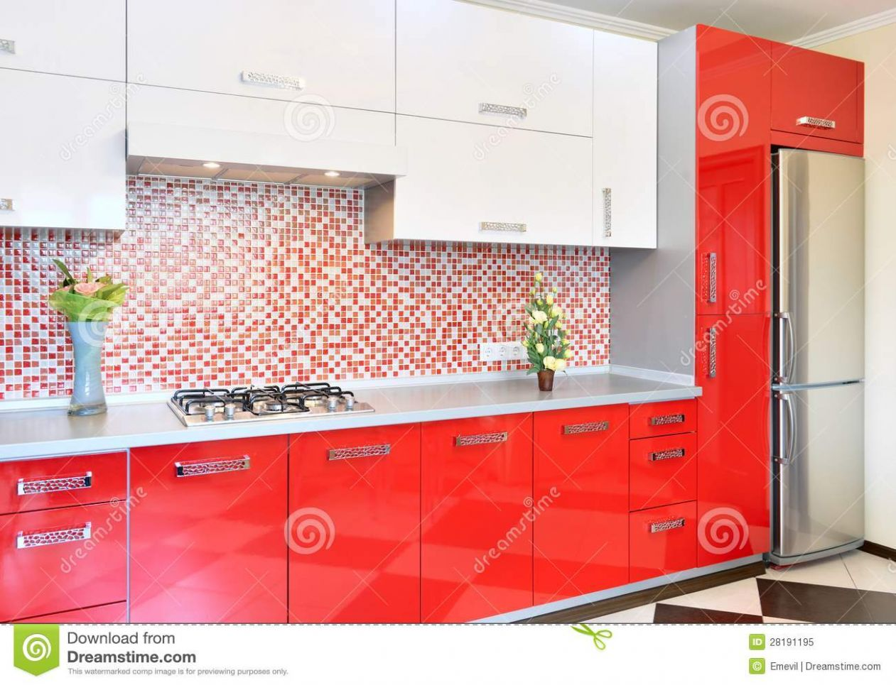 Kitchen red and white stock image. Image of faucet, hood - 10