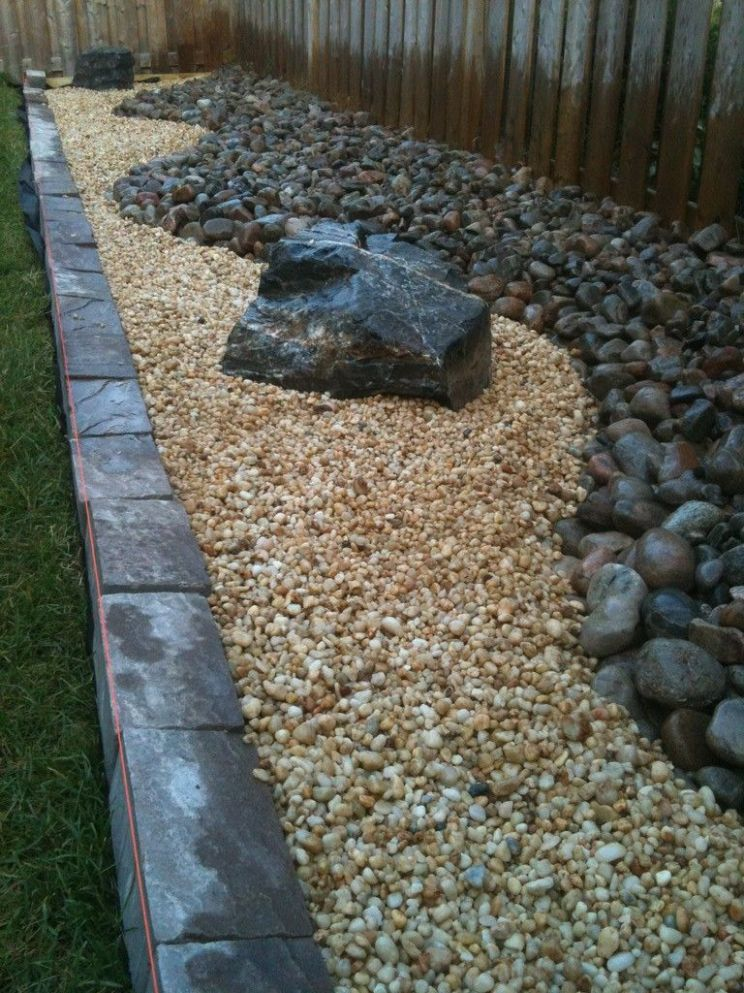 Landscaping DIY Backyard Rock River Garden With Black And Cream ...