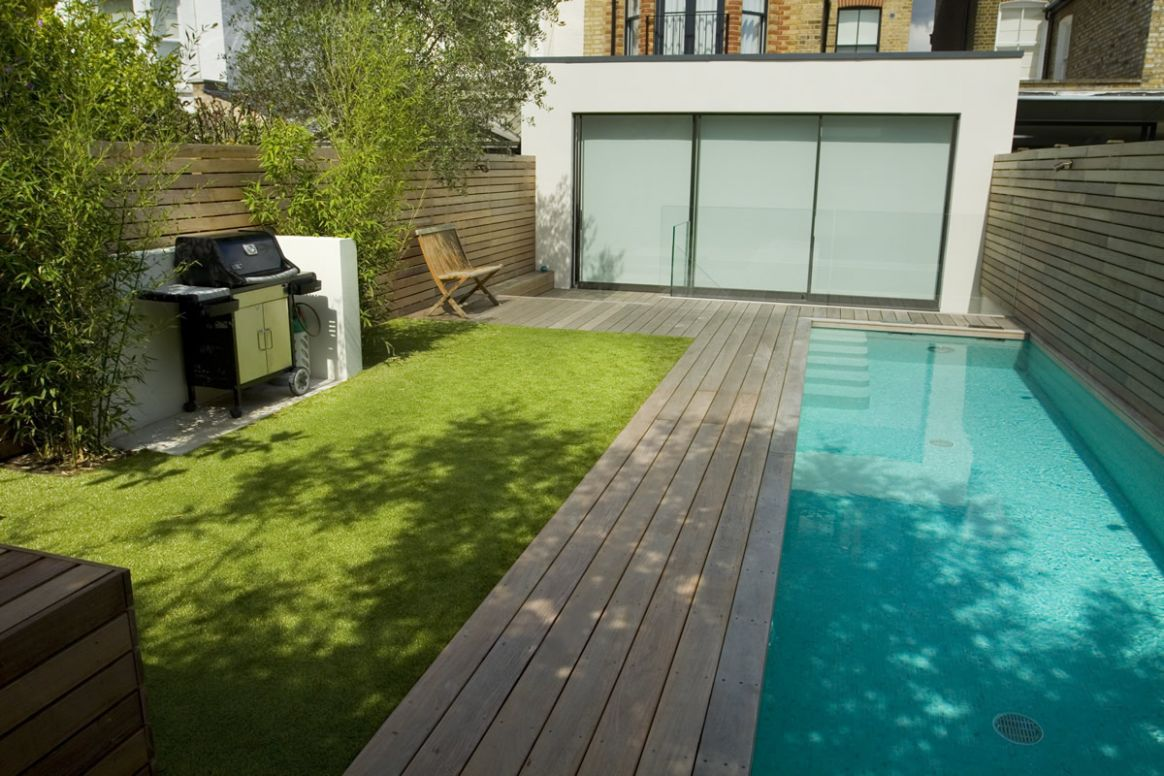 Lane swimming pool and contemporary garden designed and built by The G - garden pool ideas uk