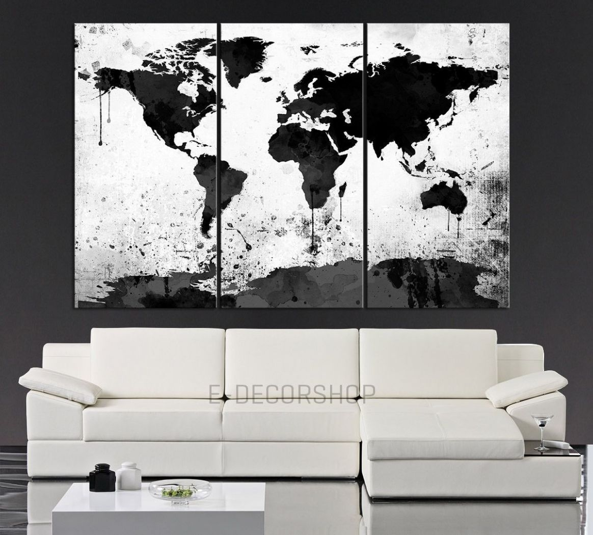 Large Black White World Map Canvas Print 11 Piece Watercolor Splash ..