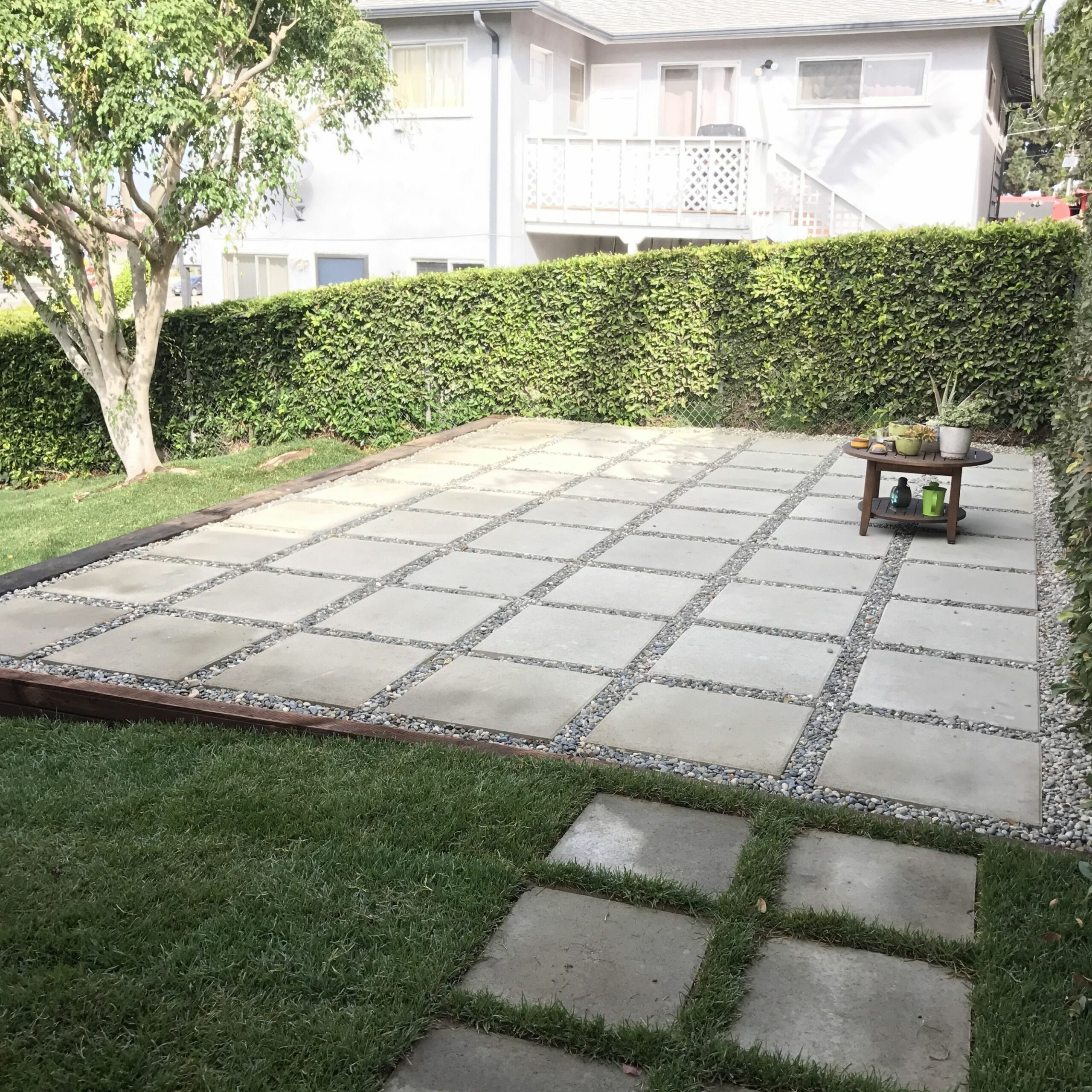 Large pavers used to create patio in backyard. Quick and easy ..