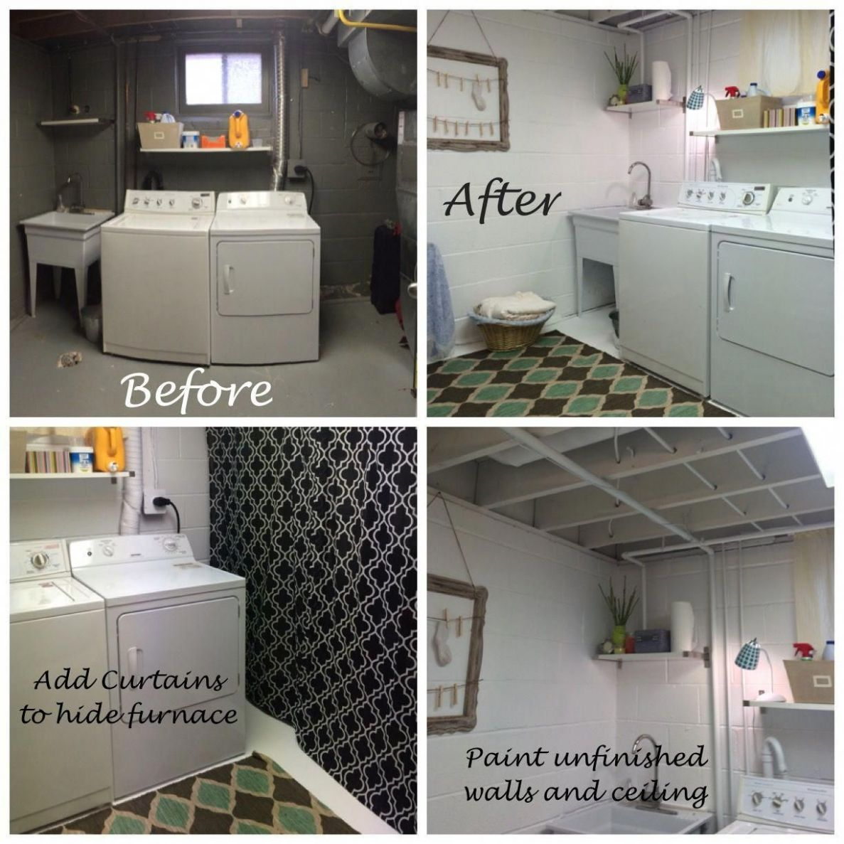 Laundry room makeover on a budget. Before and after. Painted the w ...
