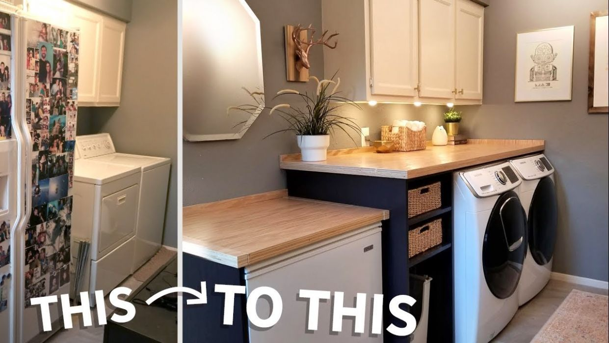Laundry Room Makeover w/ Wood Countertops! - small laundry room ideas youtube