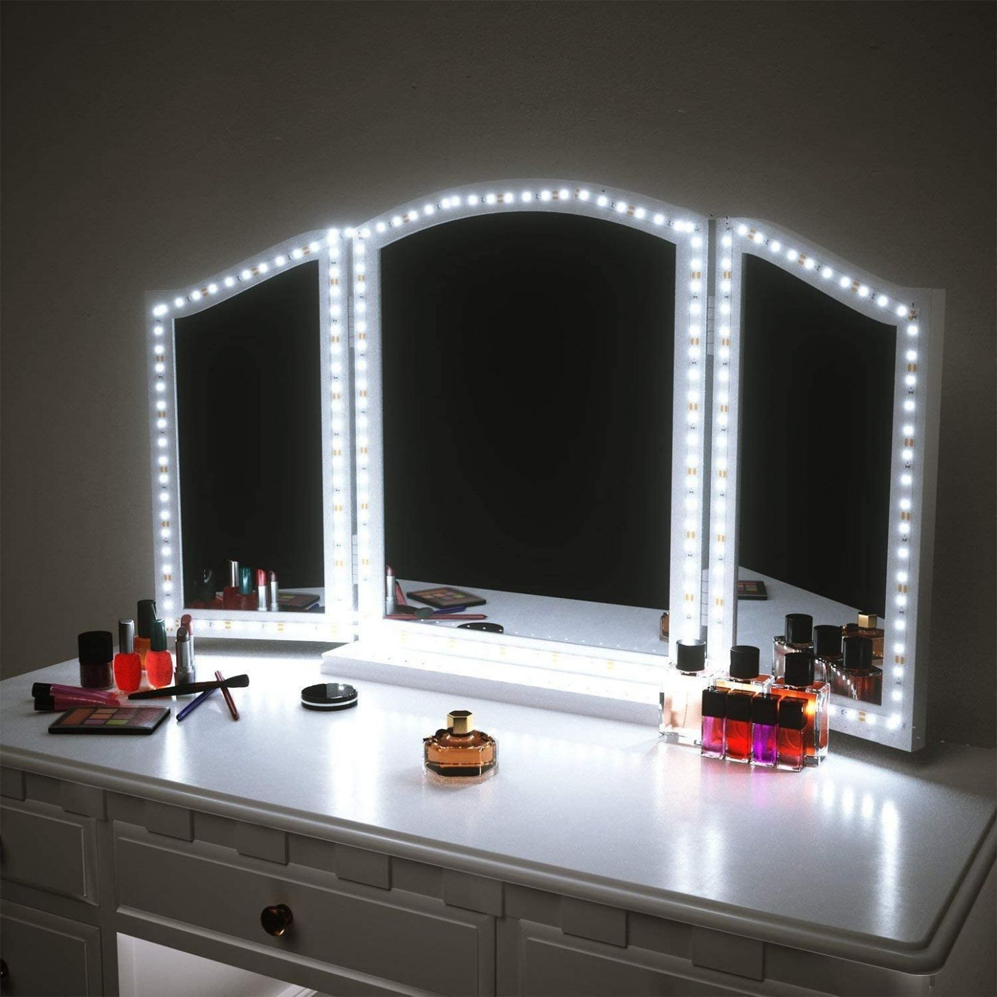 LED Vanity Mirror Lights for Makeup Dressing Table Vanity Set 10ft Flexible  LED Light Strip Kit 10K Daylight White with Dimmer and Power Supply, DIY  ..