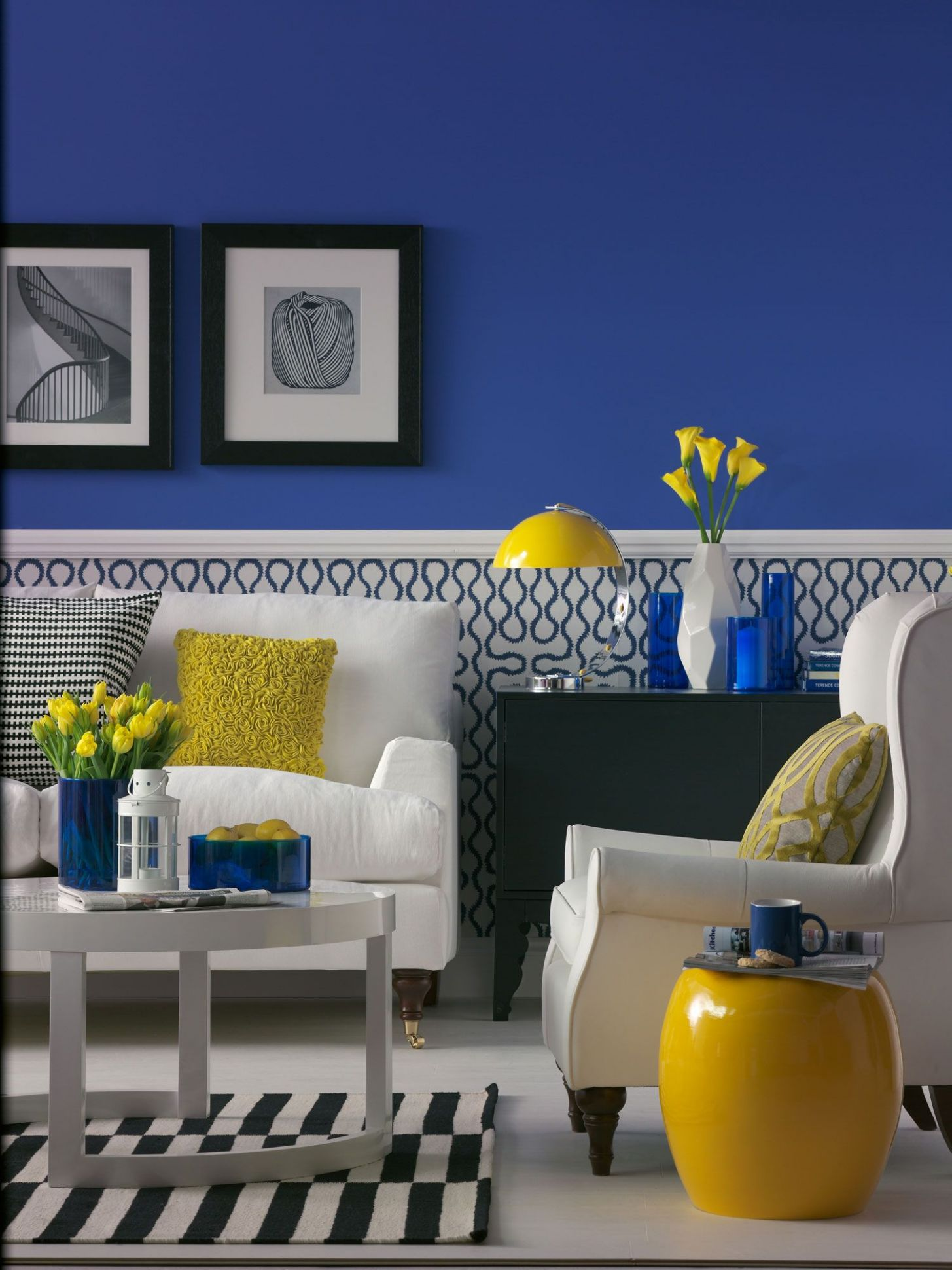 Lemon Yellow Living Room Ideas in 8 | Yellow home decor, Blue ..