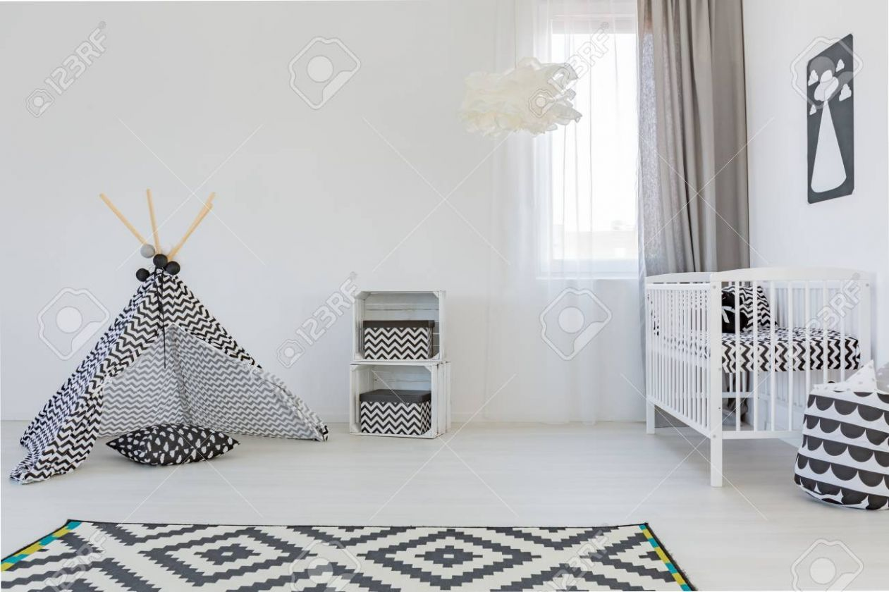 Light baby room with white cot, carpet and play tent - baby room carpet