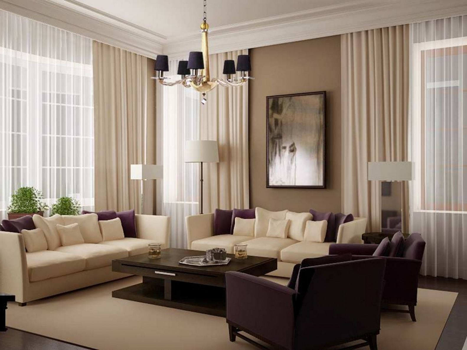 Light Brown Living Room Ideas White Curtain Tan Wall Color Cream ..