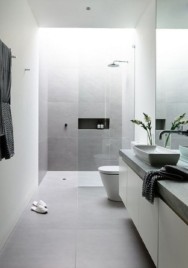 light grey and white bathroom ideas - Hunkie