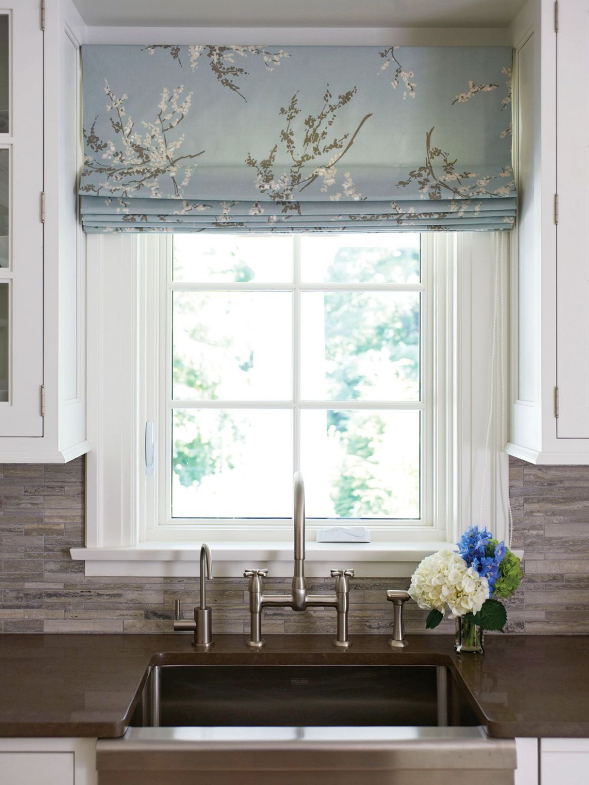 Like the idea of using a printed fabric for the blinds to add ..