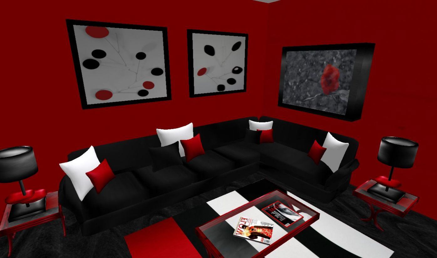 Living Room Contemporary Red Design Wall Color White Gray Rooms ..