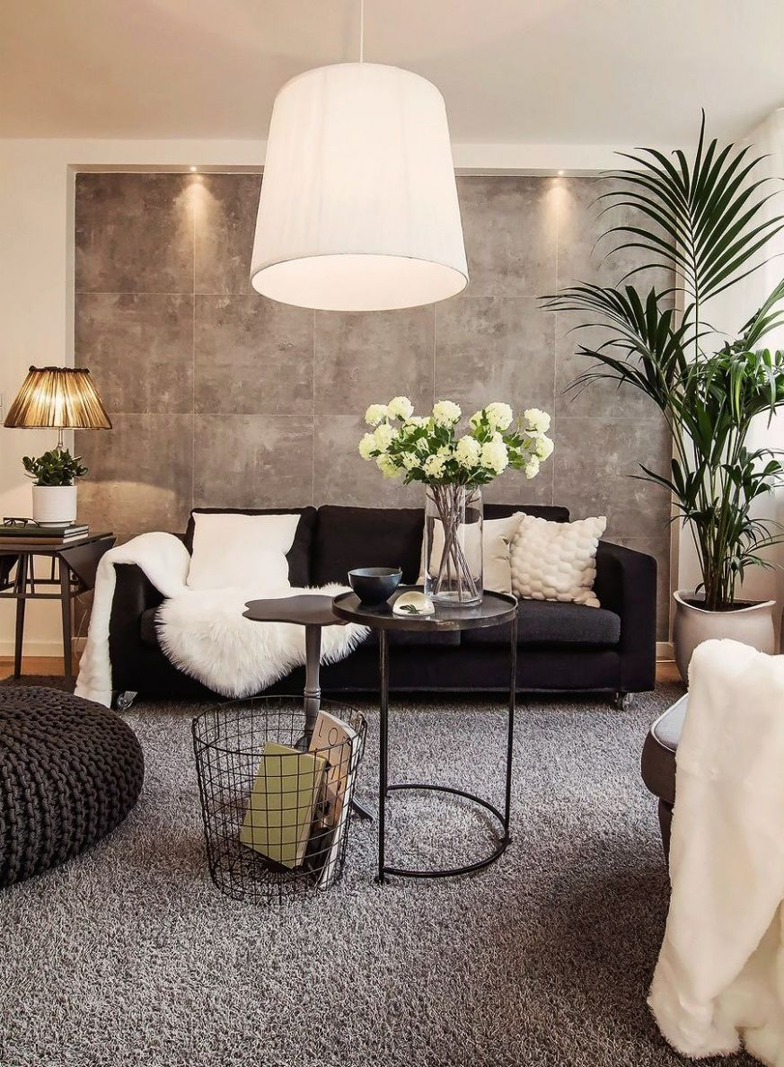 living room inspiration: black couch with neutral pillows ..