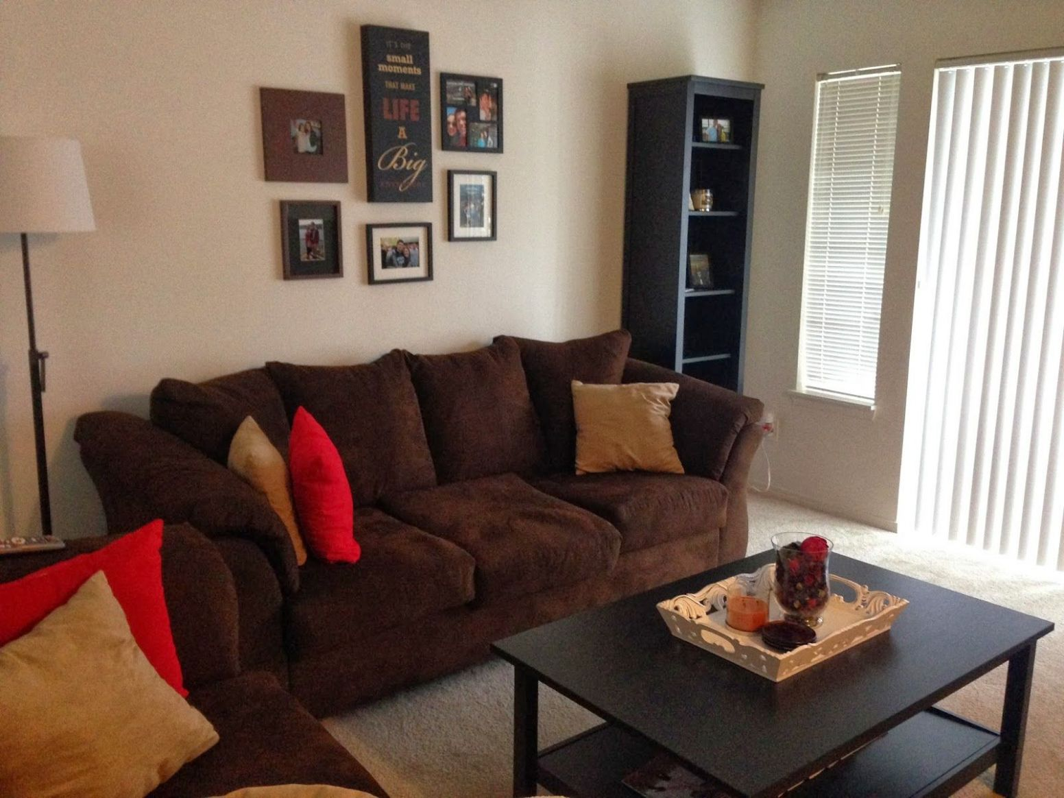 living room with brown couch red walls - Google Search | Living ..
