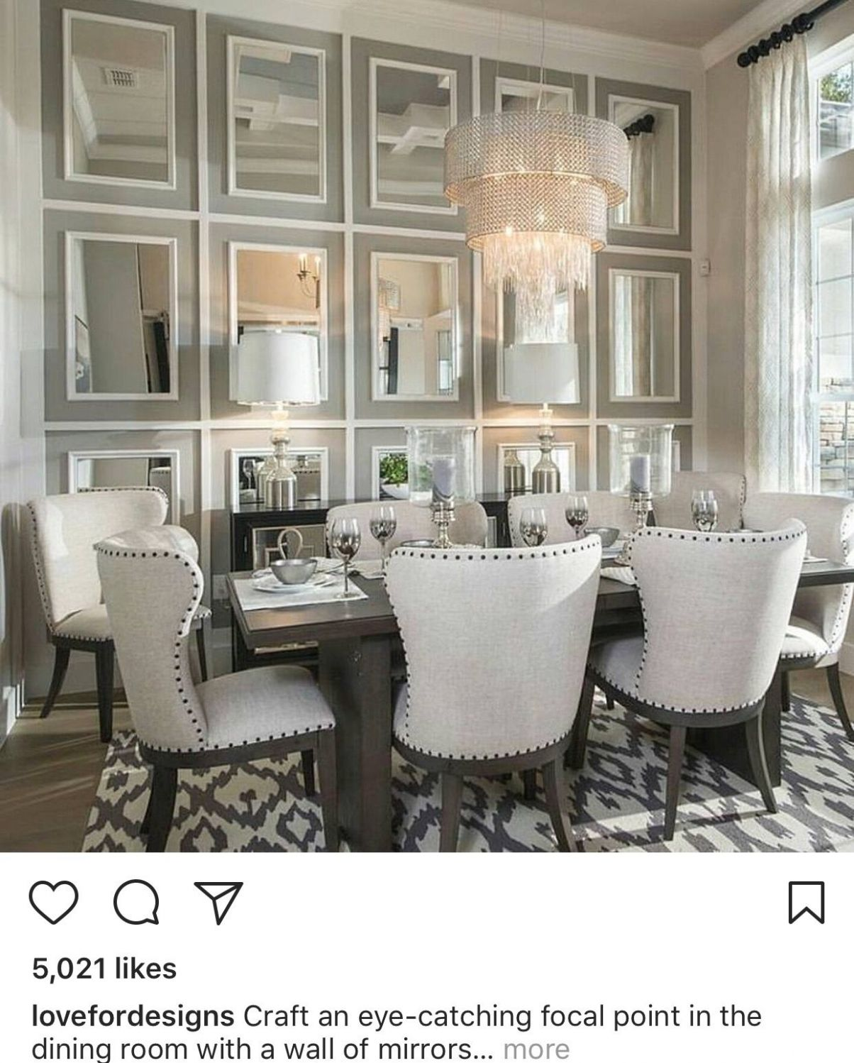 Love the chairs! | Mirror dining room, Luxury dining room, Elegant ..