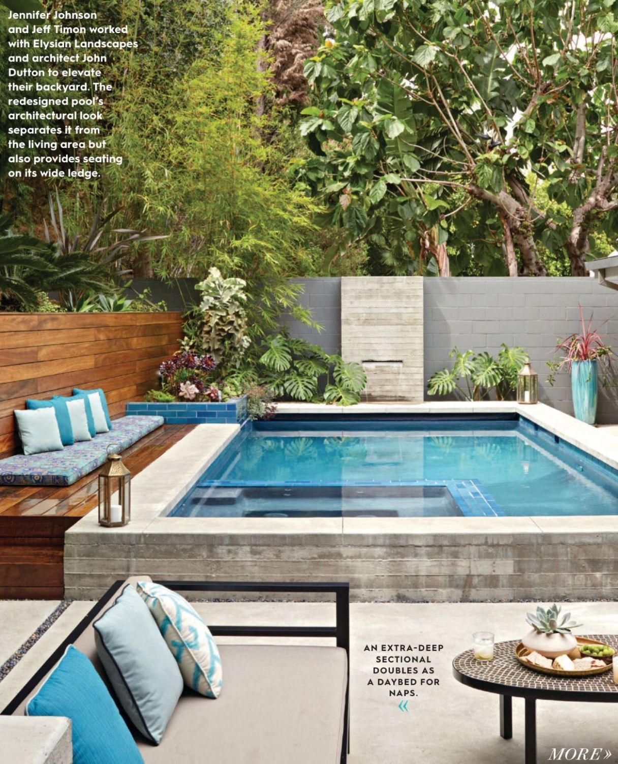 Loving the wooden bench area on the left. Idea ? | Small pool ..