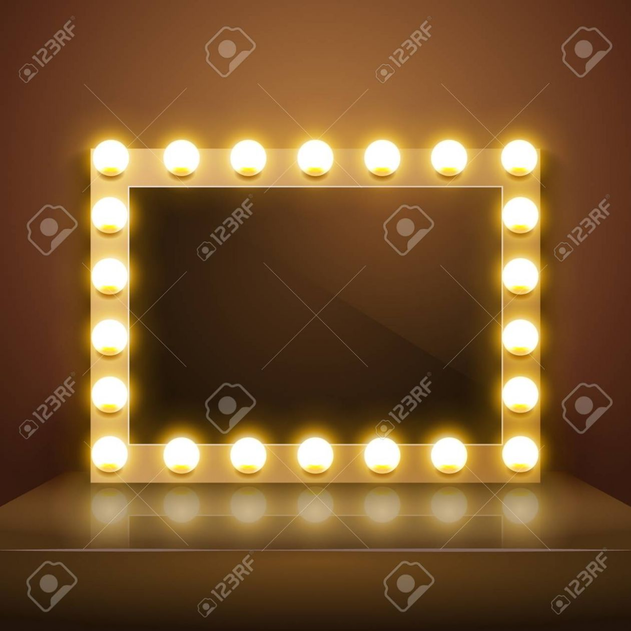Make up mirror with light. Vector artist dressing room. Make-up.