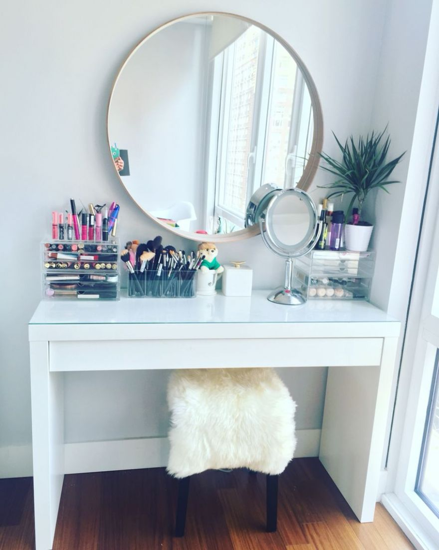 Makeup vanity table by IKEA. IKEA malm dressing table with IKEA ..