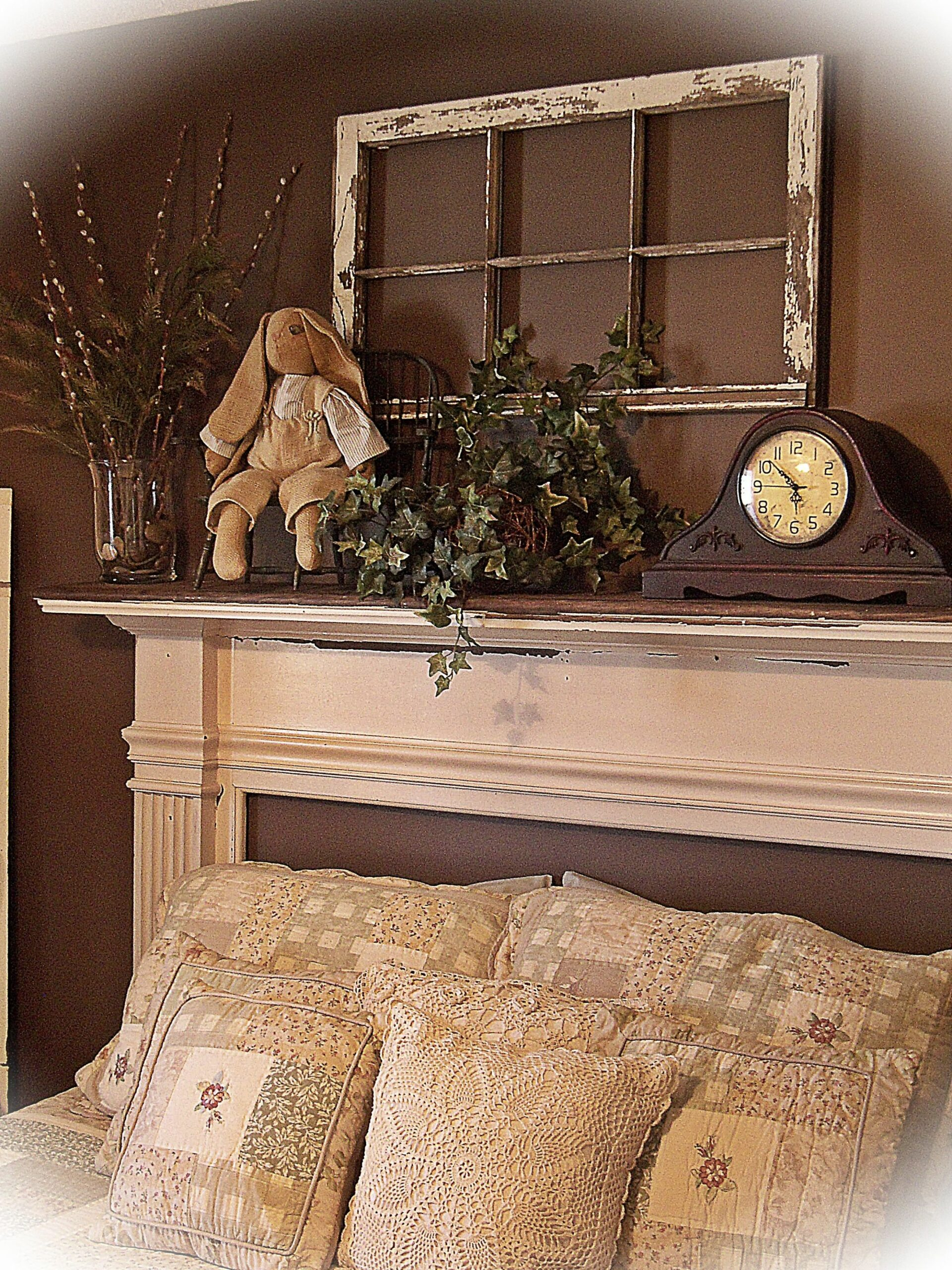 mantle headboard. already have plenty of old windows to use ...
