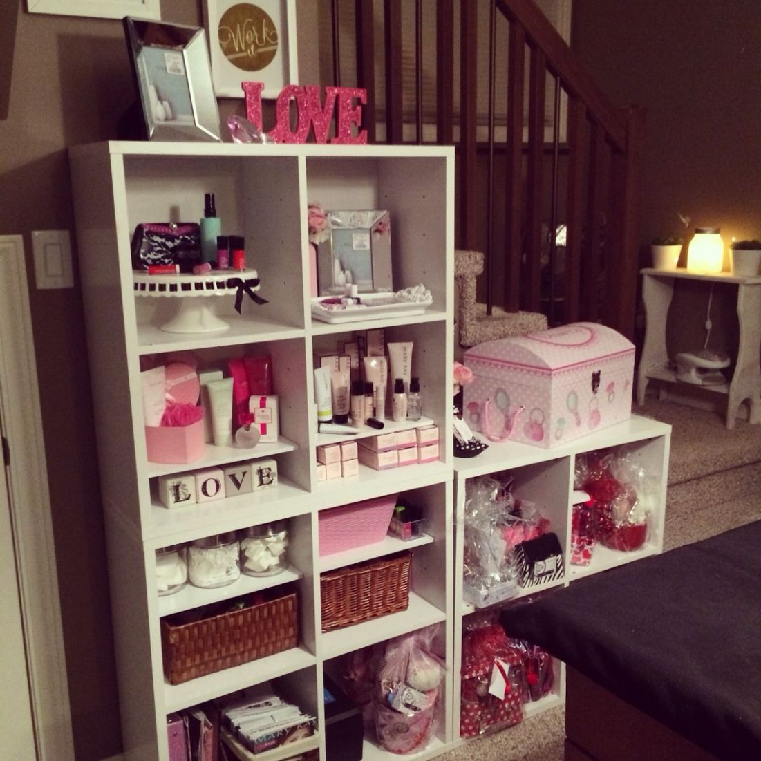Mary Kay office, in home office, organization, cube shelving, Mary ...