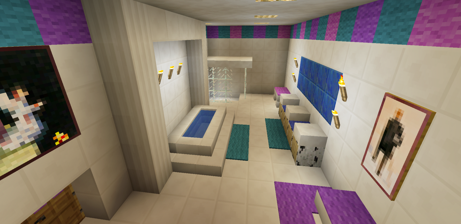 Minecraft Bathroom Pink Girl Wallpaper Wall Design Shower Sink ..
