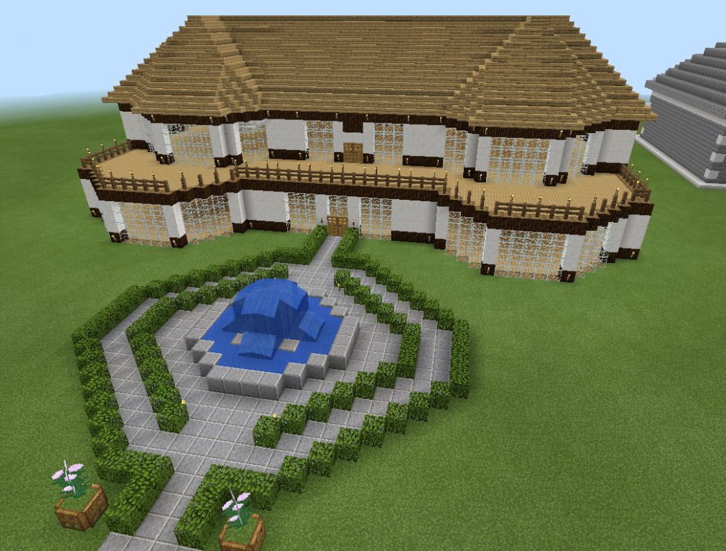 Minecraft Realistic House with Balcony Deck Wood | Minecraft ...